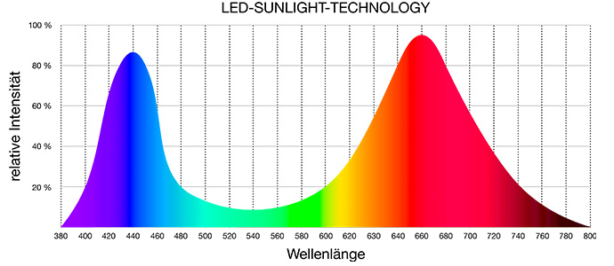 Wellenlängen der Sunlight-LED-Technologie