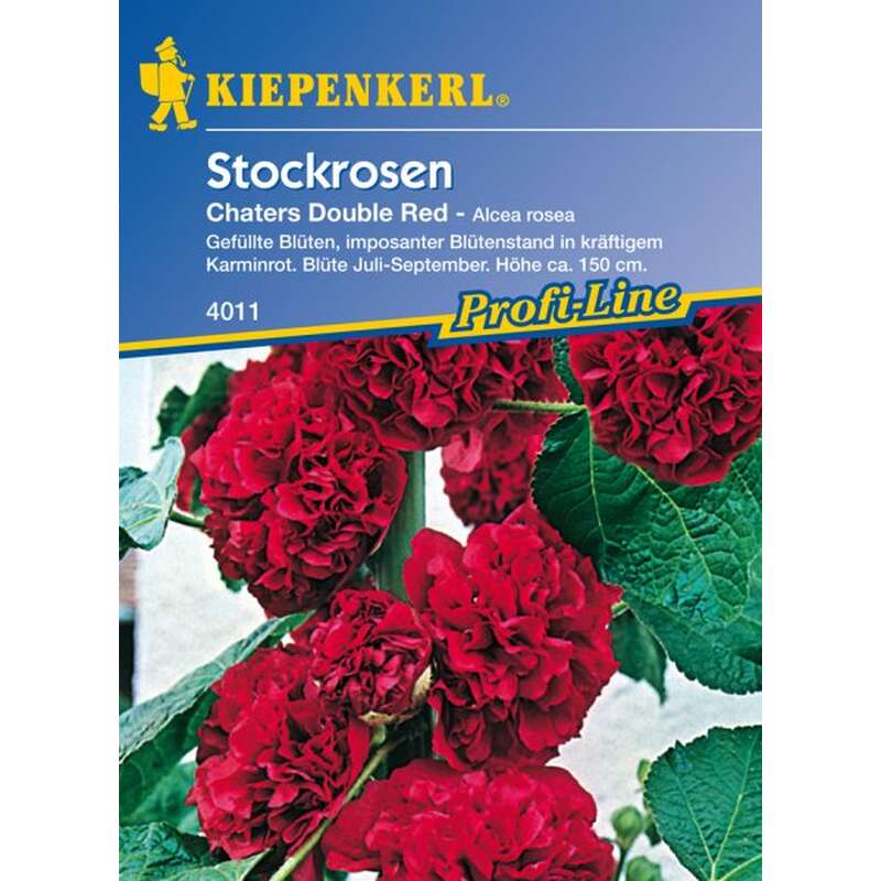 Malve, Stockrose Chaters Double Red, Mischung - Alcea rosea - Samen